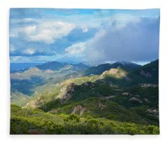 Backbone Trail Santa Monica Mountains Fleece Blanket