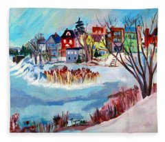 Backside Of Schenectady Stockade In February Fleece Blanket