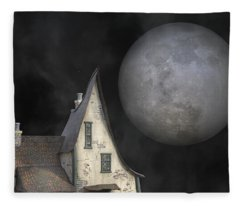 Backyard Moon Super Realistic  Fleece Blanket