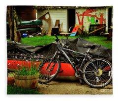 Backyard Neighborhood Bicycle Fleece Blanket