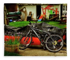 Backyard Neighborhood Bicycle Fleece Blanket