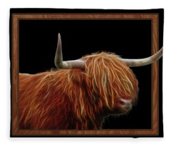 Bad Hair Day - Highland Cow - On Black Fleece Blanket