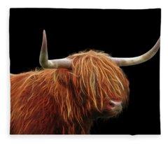 Bad Hair Day - Highland Cow - On Black Fleece Blanket