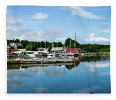 Baddeck Harbor Panorama Fleece Blanket