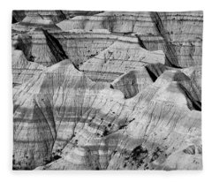 Badlands In Black And White Fleece Blanket