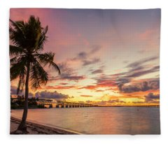 Bahia Honda State Park Sunset Fleece Blanket