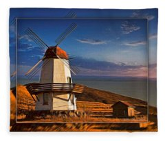 Baker City Windmill_1a Fleece Blanket