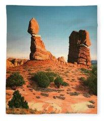 Balanced Rock At Arches National Park Fleece Blanket