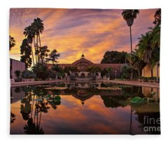 Balboa Park Botanical Building Sunset Fleece Blanket