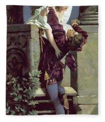 Balcony Scene, Romeo And Juliet Fleece Blanket