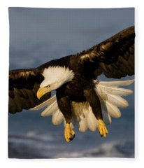 Bald Eagle In Action Fleece Blanket