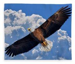Bald Eagle In Flight Calling Out Fleece Blanket