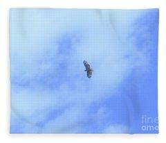 Golden Eagle In Flight Fleece Blanket