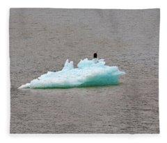 Bald Eagle On Blue Glacial Ice Fleece Blanket