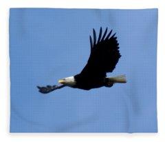 Bald Eagle Soaring High Fleece Blanket