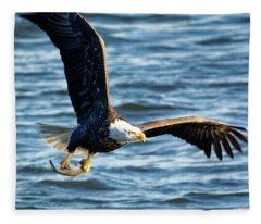 Bald Eagle With Fish Fleece Blanket
