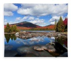 Bald Mountain Fall Reflection Fleece Blanket
