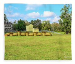 Baled Hay In A Grassy Field Fleece Blanket