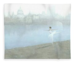 Ballerina On The Thames Fleece Blanket