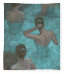 Ballerinas In Blue Fleece Blanket