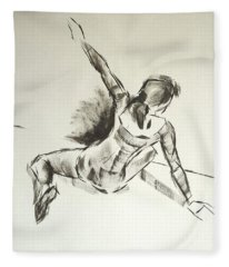 Ballet Dancer Sitting On Floor With Weight On Her Right Arm Fleece Blanket