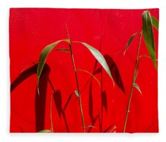 Bamboo Against Red Wall Fleece Blanket
