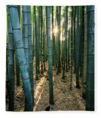 Bamboo Forest At Arashiyama Fleece Blanket