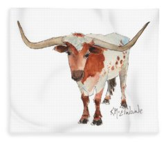 Texas Longhorn Bandero Watercolor Painting By Kmcelwaine Fleece Blanket