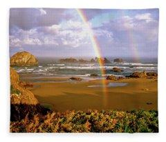 Bandon Beach Rainbow Sunrise Fleece Blanket
