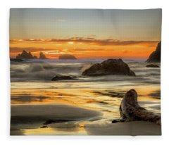 Bandon Orange Glow Sunset Fleece Blanket