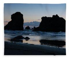 Bandon Oregon Sea Stacks Fleece Blanket