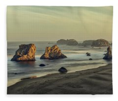 Bandon Sunrise Pano Fleece Blanket
