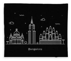 Bangalore Skyline Travel Poster Fleece Blanket