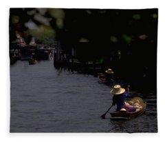 Bangkok Floating Market Fleece Blanket