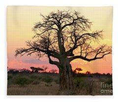 Baobab Tree At Sunset  Fleece Blanket
