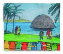 Barbados Beach Tee Shirts Fleece Blanket
