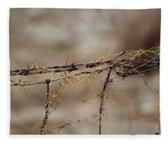 Barbed Wire Entwined With Dried Vine In Autumn Fleece Blanket