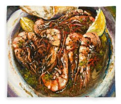 Barbequed Shrimp Fleece Blanket