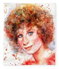 Barbra Streisand Portrait Fleece Blanket