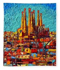 Barcelona Abstract Cityscape - Sagrada Familia Fleece Blanket
