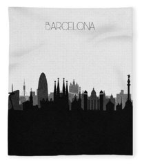 Barcelona Cityscape Art Fleece Blanket