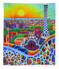 Barcelona Park Guell Sunrise Gaudi Tower Textural Impasto Knife Oil Painting By Ana Maria Edulescu Fleece Blanket