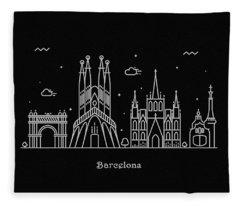 Barcelona Skyline Travel Poster Fleece Blanket