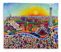 Barcelona Sunrise Colors From Park Guell Modern Impressionism Knife Oil Painting Ana Maria Edulescu Fleece Blanket