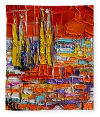 Barcelona Sagrada Familia View From Parc Guell Abstract Palette Knife Oil Painting Fleece Blanket