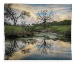 Bare Tree Reflections Fleece Blanket