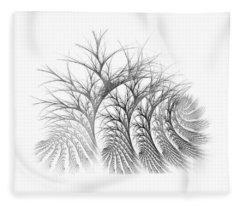 Bare Trees Daylight Fleece Blanket