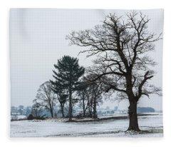 Bare Trees In The Snow Fleece Blanket