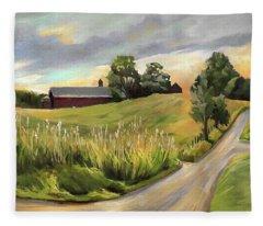 Barn On The Ridge In West Newbury Vermont Fleece Blanket