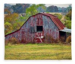 Barn On White Oak Road 2 Fleece Blanket